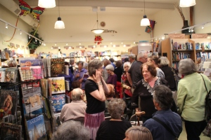 Berkeley Books Inc., launch of anthology, author Darlene Frank in tie-die skirt