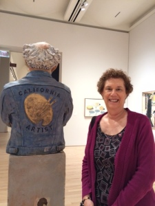 One CA artist is glazed stoneware by Robert Arneson. The other one is real, and obviously enjoying the new SFMOMA.